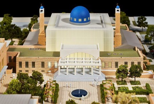 Rendition of Irelands Mosque with minarets plus conference center and education campus