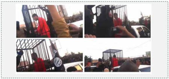 Caged Kurdish Peshmerga fighters captured by ISIS