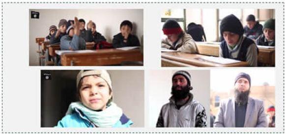 Pupils and teachers at the Imam al-Bukhari school