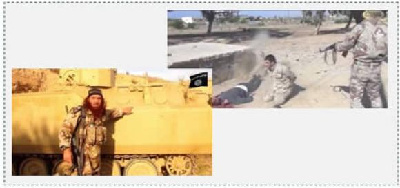 3  ISIS operative next to an Egyptian armored personnel carrier which fell into the hands of ISIS