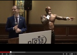 Gay stripper at gay journalist event