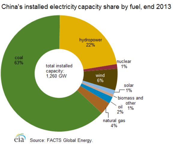 China installed electricity capacity share by fuel 2013