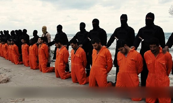 Islamic State terrorists prepare to murder 21 Egyptian Christians in Libya February 2015