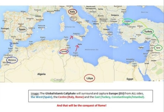 ISIS map surround and capture Europe