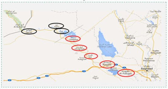 Circled in red: towns along the Euphrates liberated by the Iraqi forces. Circled in black: ISIS strongholds along the upper Euphrates allowing it a territorial continuum with the areas it controls in eastern Syria (Google Maps)