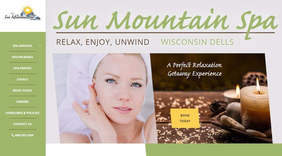 Sun Mountain Spa website screenshot for project page by Right to Evolve