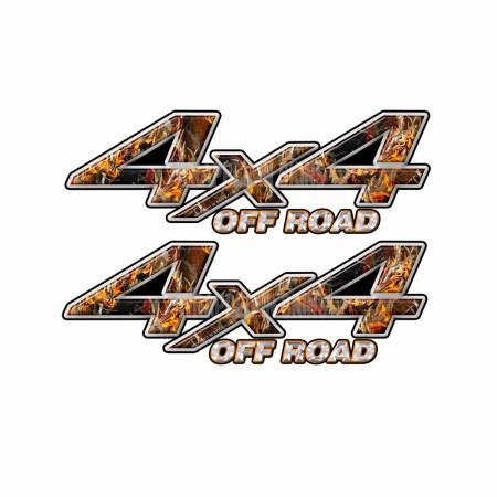 4X4 OFF ROAD Buck Skull Fire Camo Bedside Truck Decals 2 pack (ka) 1