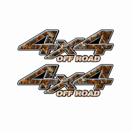 4X4 OFF ROAD Skull Fire Camo Bedside Truck Decals 2 pack (ka) 1