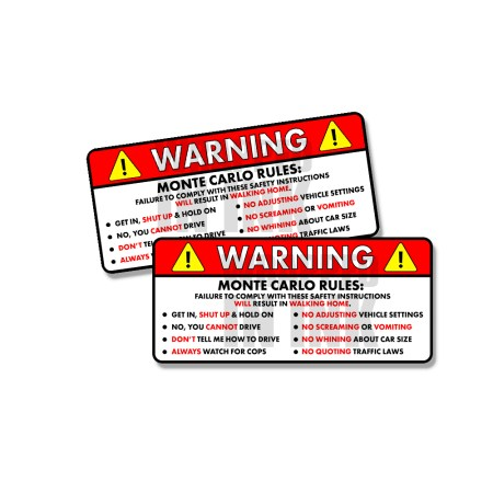 Monte Carlo Rules Funny Safety Instruction Stickers 1