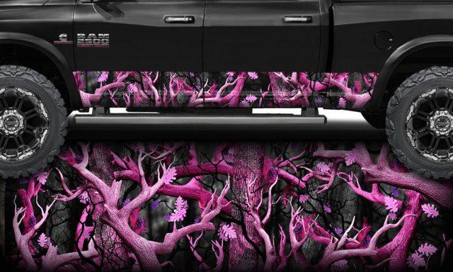 Pink Obliteration Camo Rocker Panel Wrap
