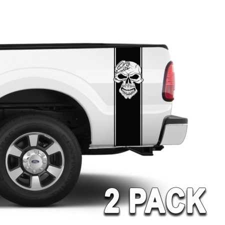 Truck Bed Band Stripes Die-Cut Skull with Brass Knuckles Set of 2 1