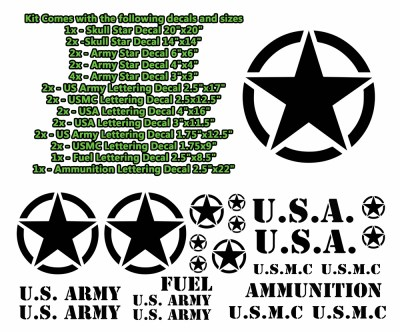 Military Jeep Star Circle Decal Kit