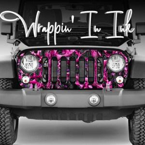 Jeep Grill Wrap Pink Black Camo
