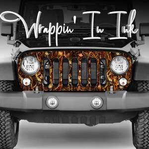 Jeep Wrangler Grill Wrap. Obliteration Blaze Camouflage Grill Decal
