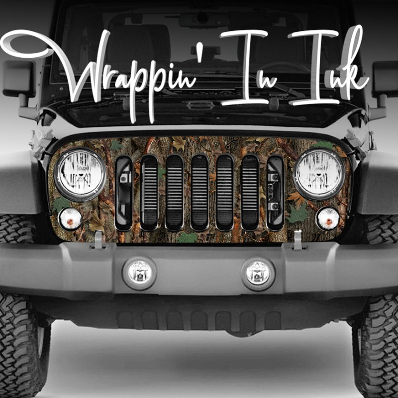 Jeep Wrangler Grill Wrap in Oak Ambush Camouflage for the 2007-2018 Jeep Wrangler