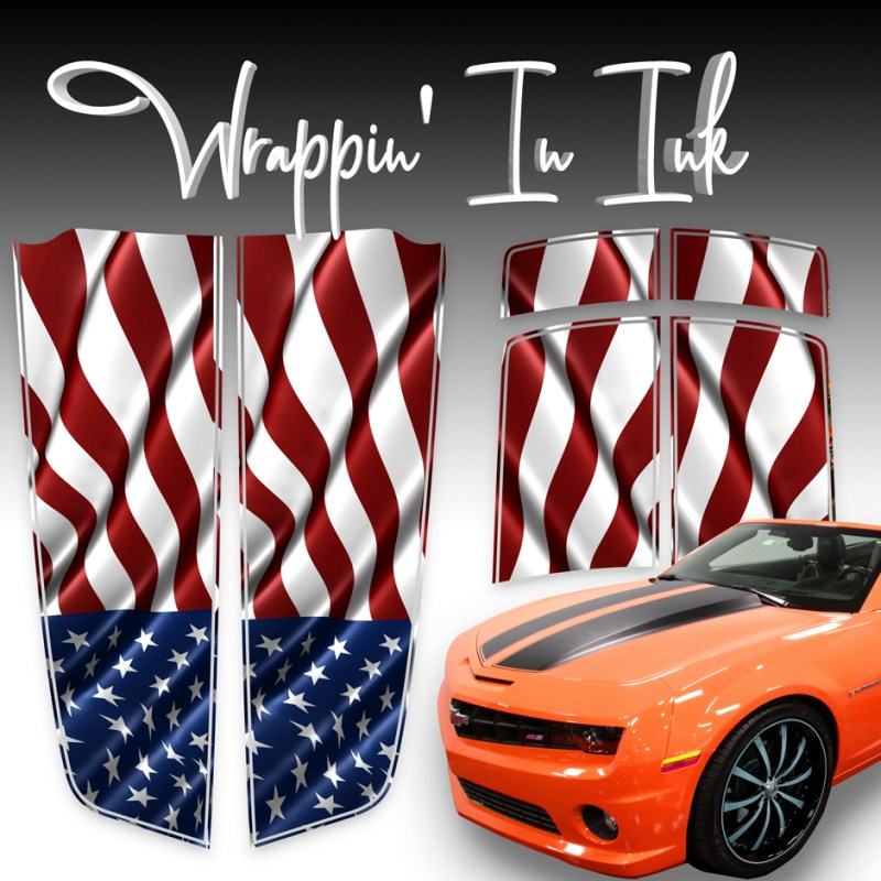 Racing Stripes for Chevy Camaro Waving American Flag