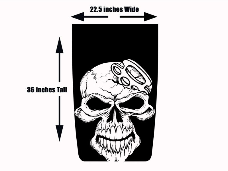 Blackout Hood Wrap for Jeep Wrangler - Die Cut Skull and Brass Knuckles