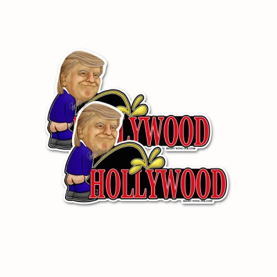 Trump Peeing on Hollywood Stickers