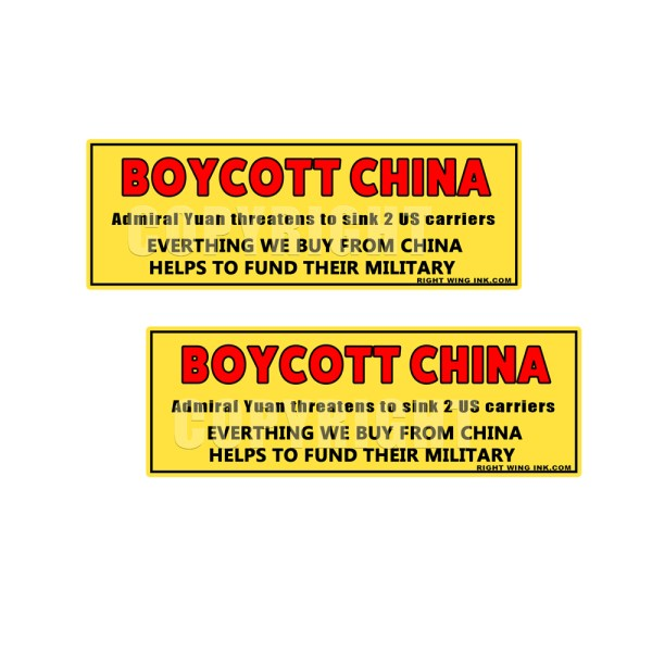 CHINESE ADMIRAL YUAN THREATENTS U.S. NAVY - BOYCOTT CHINA - DON'T FUND THEIR MILITARY