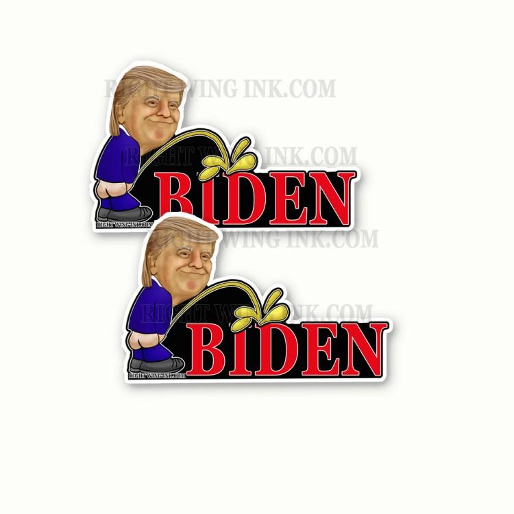 Trump Peeing on Biden Stickers