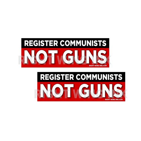 Register Communists Not Guns Stickers 2