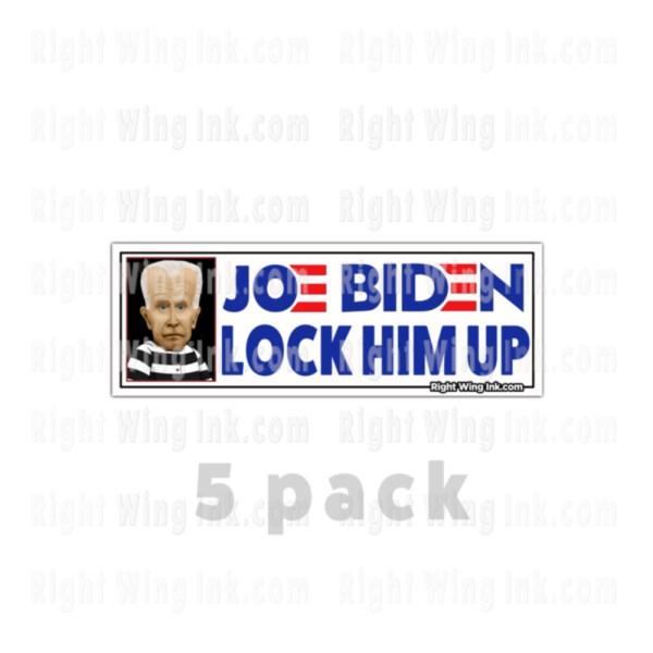 Lock Him Up Stickers Caricature Joe Biden Wt 5 Pack
