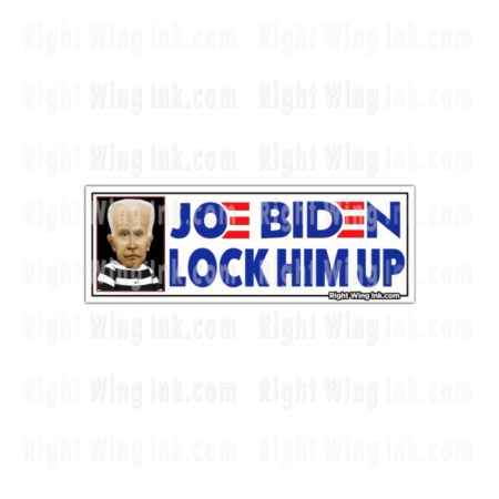 Lock Him Up Stickers Caricature Joe Biden Wt 2 Pack