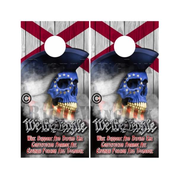 Alabama Flag Skull We The People Cornhole Wraps