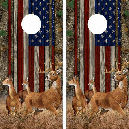 American Flag Forest Buck n-Deer Wood Cornhole Board Wraps 11