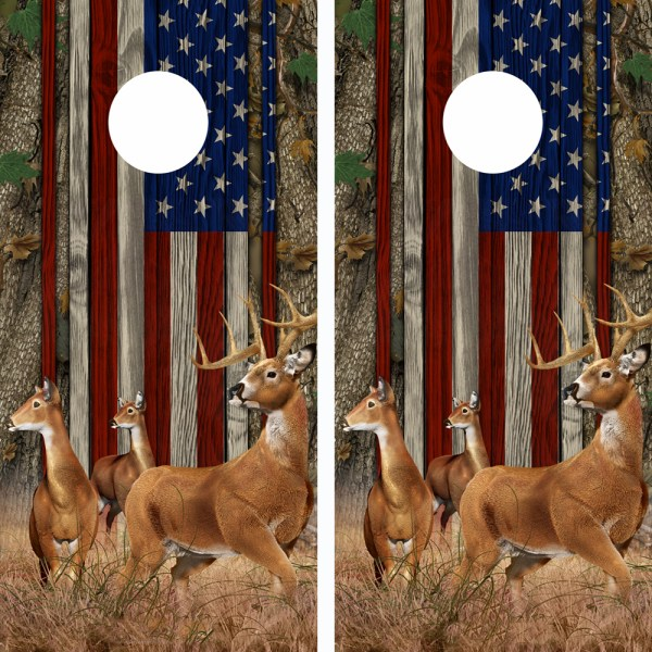 American Flag Forest Buck n-Deer Wood Cornhole Board Wraps 11