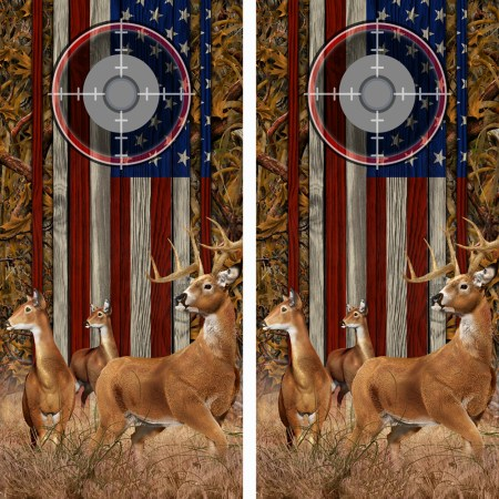 American Flag Marsh Buck N Deer Wood Cornhole Board Wraps 14 Scope