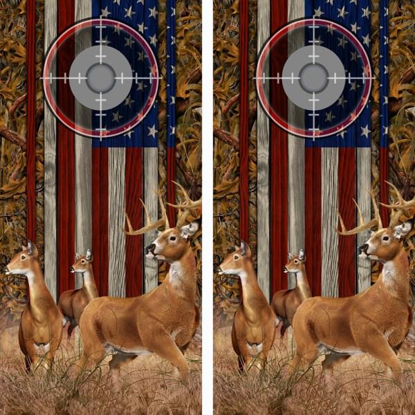 American Flag Marsh Buck N Deer Wood Cornhole Board Wraps 14 Scope