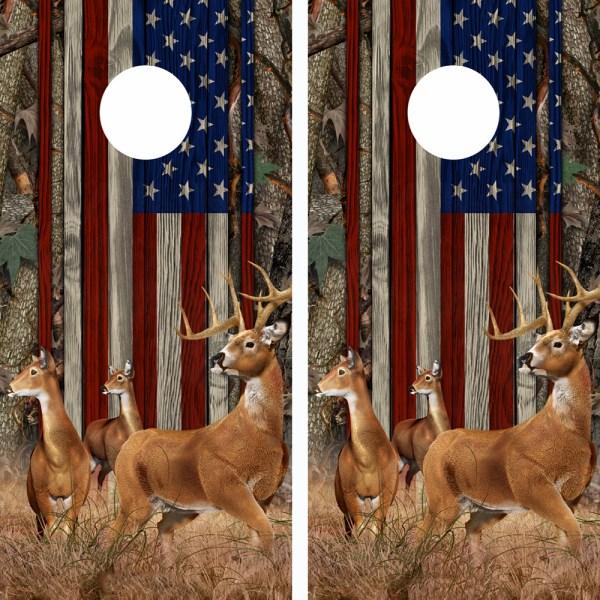 American Flag Oak Ambush Buck N Deer Wood Cornhole Board Wraps 12