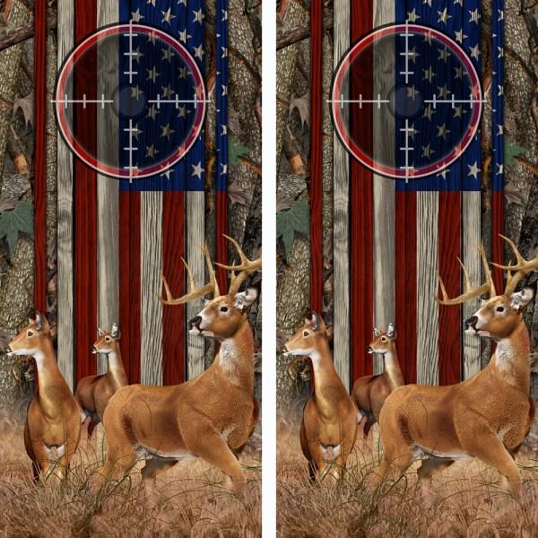 American Flag Oak Ambush Buck N Deer Wood Cornhole Board Wraps 12 Scope