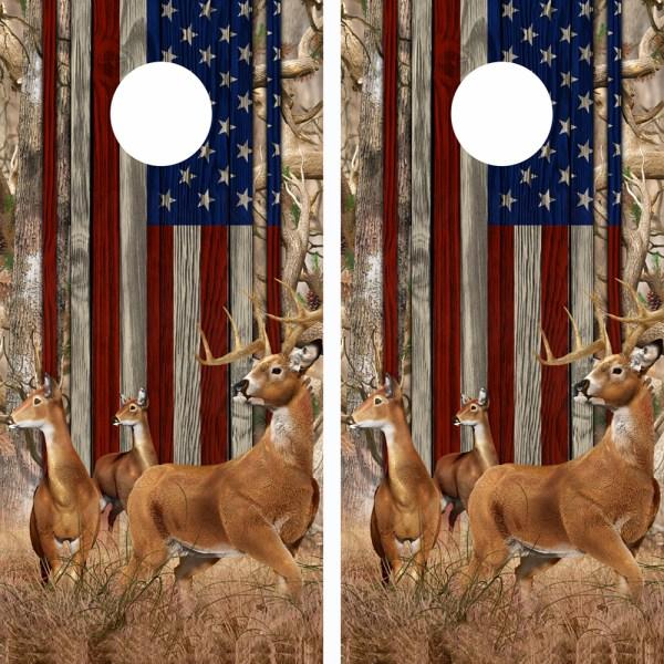 American Flag Obliteration Camo Buck N Deer Wood Cornhole Board Wraps 15