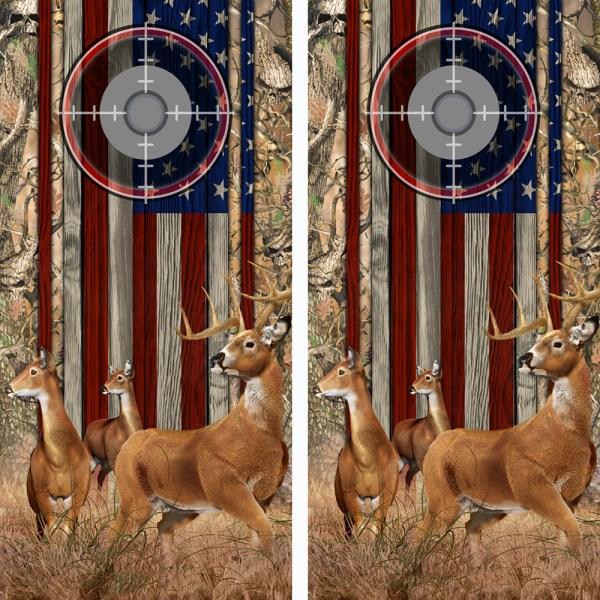 American Flag Obliteration Skull Camo Buck N Deer Wood Cornhole Board Wraps 16 Scope
