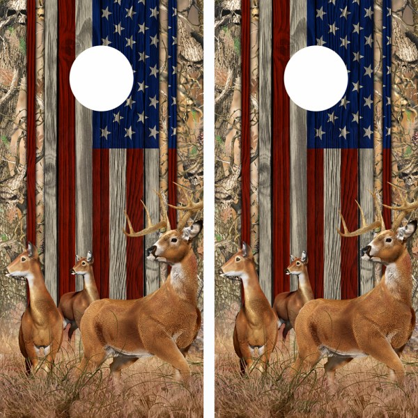 American Flag Obliteration Skull Camo Buck N Deer Wood Cornhole Board Wraps 16