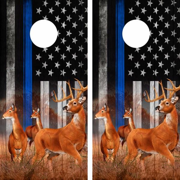 American Flag Police Blue Line Buck N Deer Cornhole Board Wraps 04