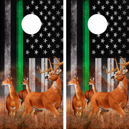 American Flag Subdued Green Line Buck N Deer Cornhole Board Wraps 08