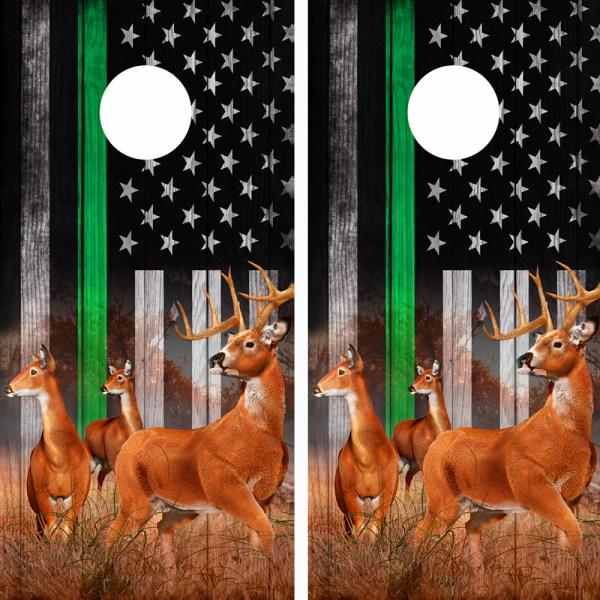 American Flag Subdued Green Line Buck N Deer Cornhole Board Wraps 08