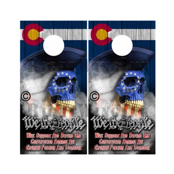 Colorado Flag Skull We The People Cornhole Wraps