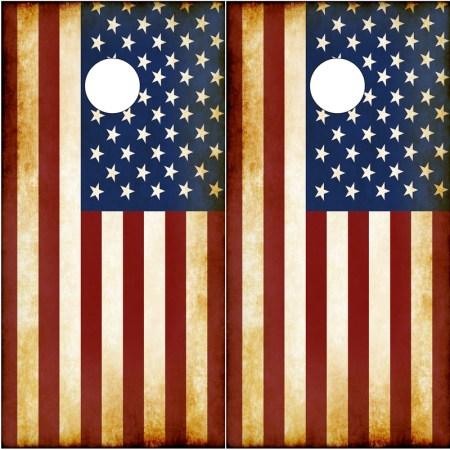 American Flag Rustic Cornhole Wraps