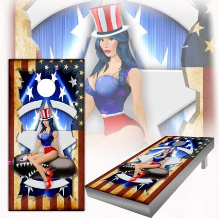 American Flag Pinup Cornhole Wraps