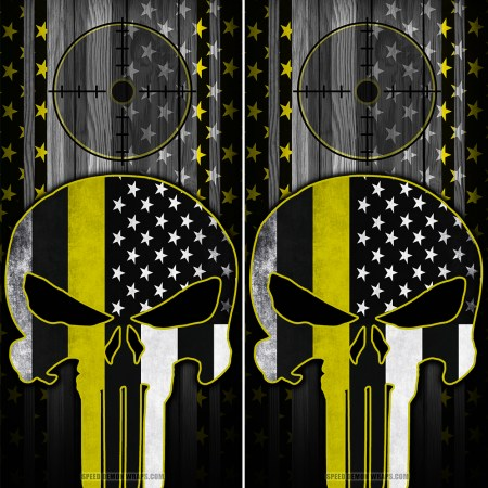 Punisher Yellow Line American Flag Scope Wood Cornhole Wraps