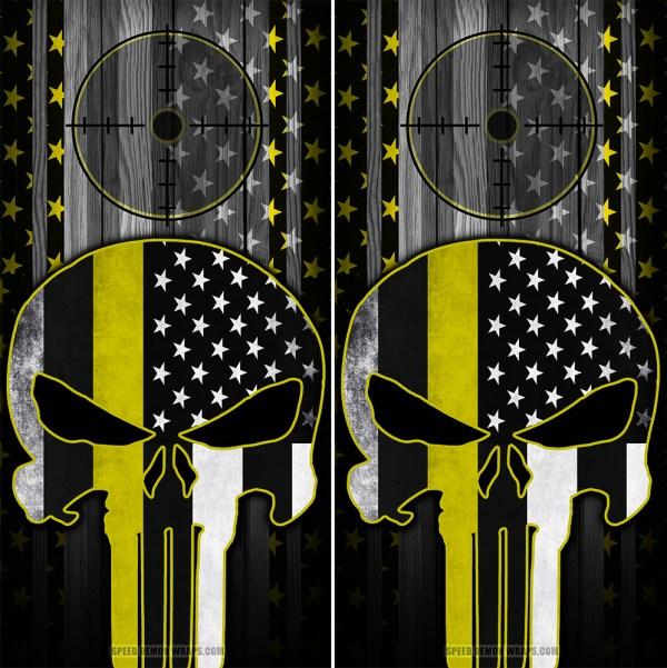 Punisher Yellow Line American Flag Scope Wood Cornhole Wraps