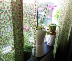 Mitt köksfönster. Gardinen är en stuvbit för 40 kronor.