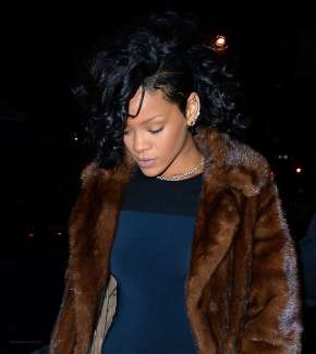 Rihanna at Marquee nightclub in NYC on December 18, 2013 Curly hair