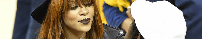 Rihanna attends a basketball game in Oakland