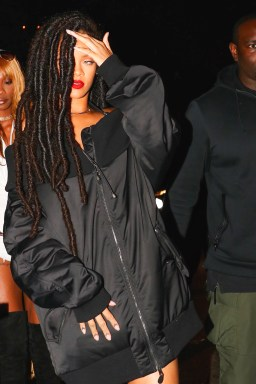 Rihanna arrives for a Halloween party at the Marquee New York on October 29, 2016 dreadlocks