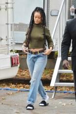 Rihanna on the set of Ocean's Eight on November 10, 2016 green shirt, jeans
